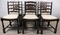 Set of Six Antique Style Dark Beech Ladderback Dining Chairs
